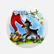 Funny Clothesline Goat Ornament (Round)