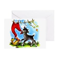 Funny Clothesline Goat Greeting Card