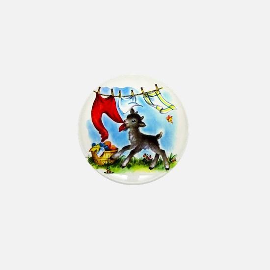 Funny Clothesline Goat Mini Button