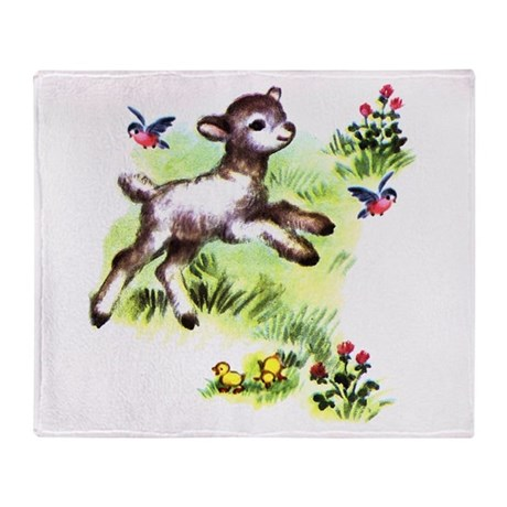 Cute Baby Lamb Sheep Throw Blanket