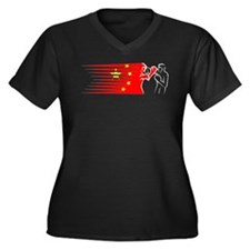 boxing - China Women's Plus Size V-Neck Dark T-Shi