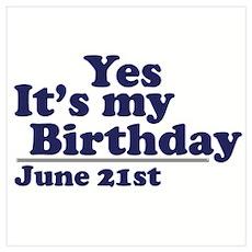 June 21 Birthday Poster