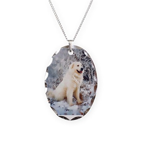 Great Pyrenees Necklace Oval Charm,WinterWood
