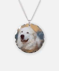 Great Pyrenees Necklace Circle Charm, Bairney