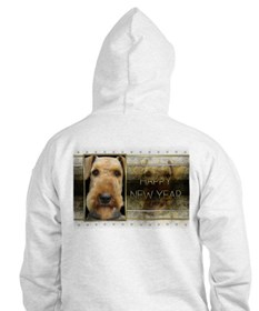 New Year - Golden Elegance - Airedale Hoodie