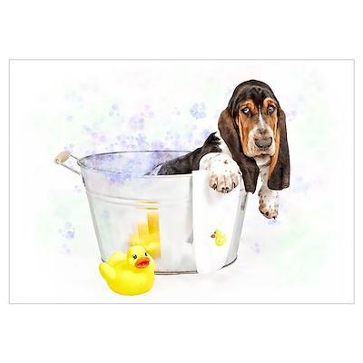 Bubble Bath Basset Poster