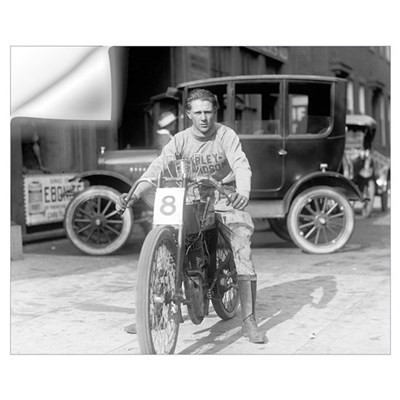 Harley-Davidson Motorcycle Racer, 1922 Wall Decal