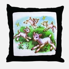 Cute Sheep Baby Lambs Throw Pillow