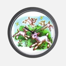 Cute Sheep Baby Lambs Wall Clock