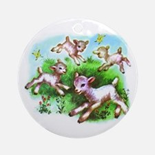 Cute Sheep Baby Lambs Ornament (Round)