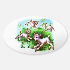 Cute Sheep Baby Lambs Sticker (Oval)