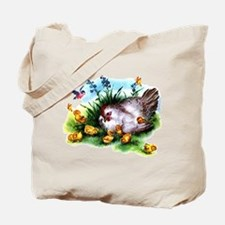 Mother Hen Yellow Chicks Tote Bag