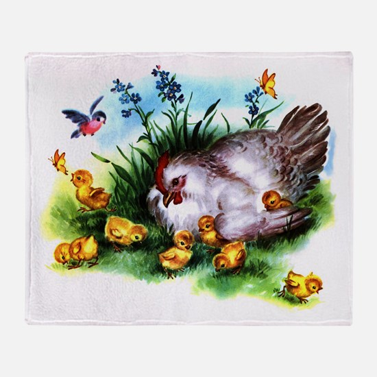 Mother Hen Yellow Chicks Throw Blanket