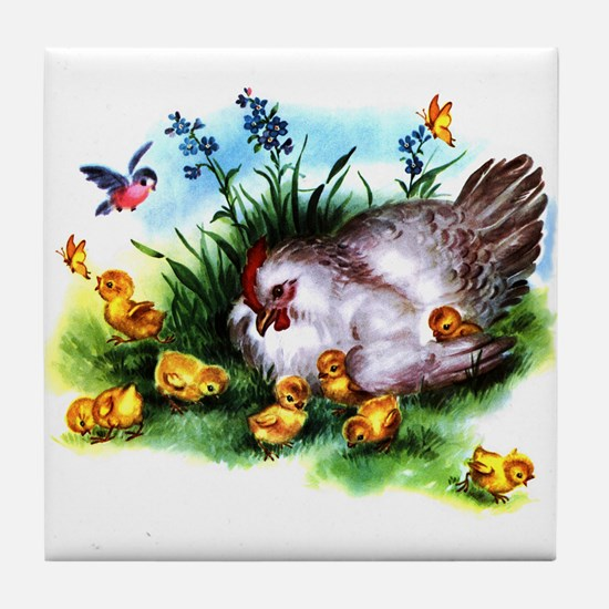 Mother Hen Yellow Chicks Tile Coaster