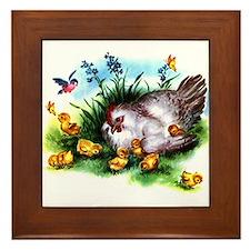 Mother Hen Yellow Chicks Framed Tile