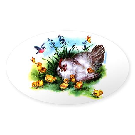 Mother Hen Yellow Chicks Sticker (Oval 50 pk)