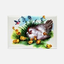 Mother Hen Yellow Chicks Rectangle Magnet
