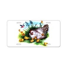 Mother Hen Yellow Chicks Aluminum License Plate