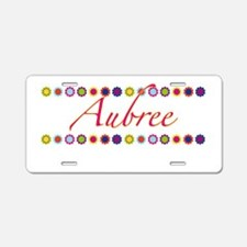 Aubree with Flowers Aluminum License Plate
