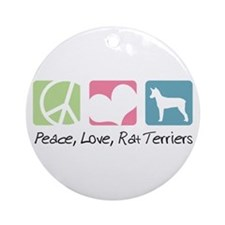 Peace, Love, Rat Terriers Ornament (Round)