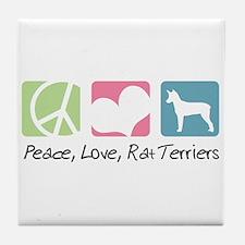 Peace, Love, Rat Terriers Tile Coaster