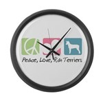 Peace, Love, Rat Terriers Large Wall Clock