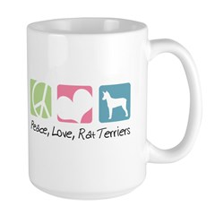 Peace, Love, Rat Terriers Large Mug