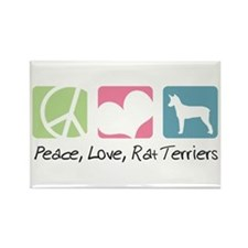 Peace, Love, Rat Terriers Rectangle Magnet