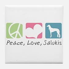 Peace, Love, Salukis Tile Coaster