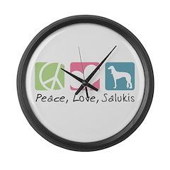 Peace, Love, Salukis Large Wall Clock