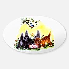 Cute Kitty Cat Kittens Sticker (Oval)