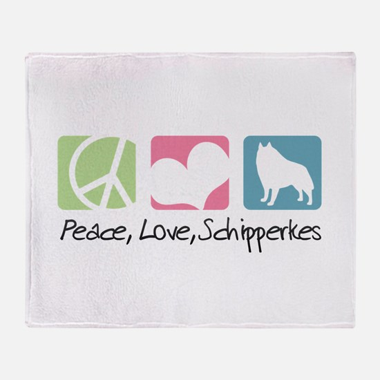 Peace, Love, Schipperkes Throw Blanket