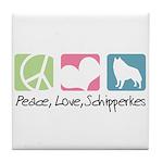 Peace, Love, Schipperkes Tile Coaster