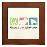 Peace, Love, Schipperkes Framed Tile