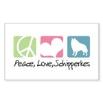 Peace, Love, Schipperkes Sticker (Rectangle 10 pk)