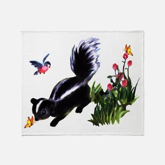 Cute Baby Skunk Throw Blanket