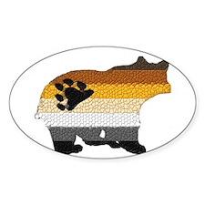 PRIDE BEAR W/MOSAIC STRIPES Oval Decal