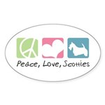 Peace, Love, Scotties Sticker (Oval 50 pk)
