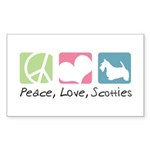 Peace, Love, Scotties Sticker (Rectangle 50 pk)