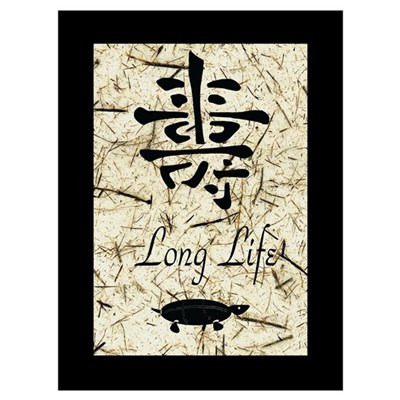 "Ancient Calligraphy ""Long Life"" Canvas Art"
