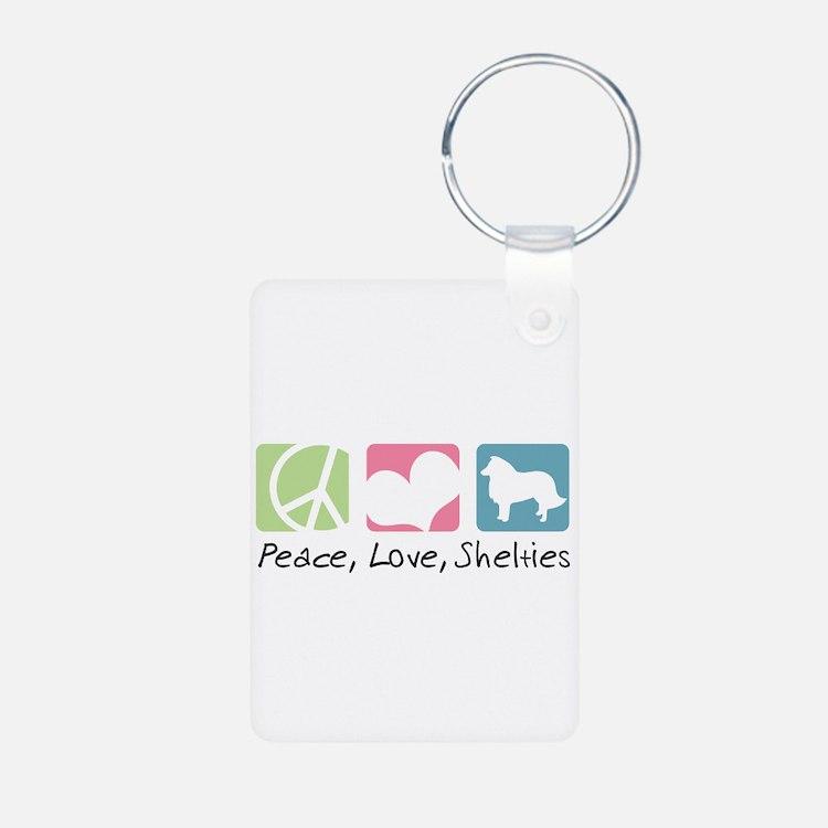 Peace, Love, Shelties Keychains