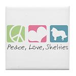 Peace, Love, Shelties Tile Coaster