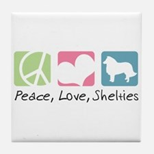 Peace, Love, Shelties Tile Coaster
