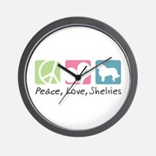 Peace, Love, Shelties Wall Clock