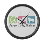 Peace, Love, Shelties Large Wall Clock