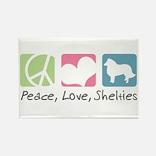 Peace, Love, Shelties Rectangle Magnet (10 pack)
