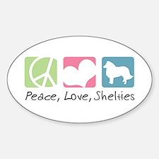 Peace, Love, Shelties Sticker (Oval)