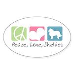 Peace, Love, Shelties Sticker (Oval 10 pk)