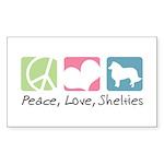 Peace, Love, Shelties Sticker (Rectangle 10 pk)