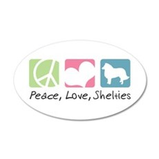 Peace, Love, Shelties 22x14 Oval Wall Peel
